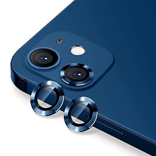 Wsken Camera Lens Protector Compatible for iPhone 12/iPhone 12 Mini,Premium HD Tempered Glass Aluminum Alloy Lens Screen Cover Film - Blue