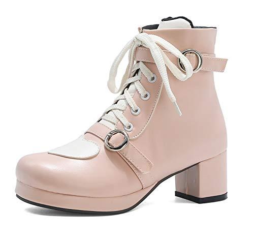 SHEMEE Damen Lolita Plateau Stiefeletten Blockabsatz Ankle Boots zum Schnüren Kurzschaft Stiefel(Rosa,43)