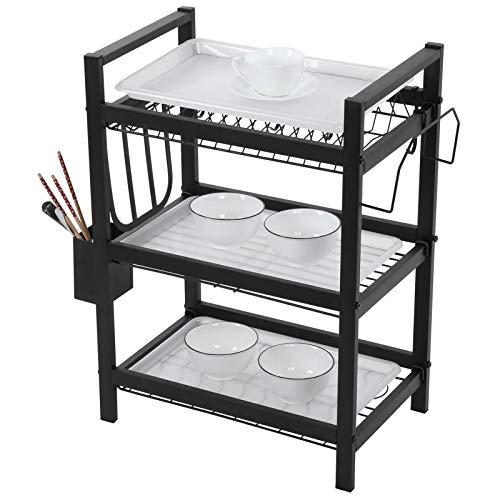 Wakects Escurreplatos de cocina de 3 niveles, con soporte para cubiertos y tabla de cortar, estantería para vajilla de acero inoxidable, estante de cocina, 54 x 27 x 60 cm, negro