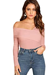RUN SMALL, Please refer to our size chart before ordering, pay attention to bust size Solid color plain tops, cross wrap, asymmetrical neck Ribbed knit blouse, slim fit, long sleeve pullover tops For women, teen girls, easy to match with pants/shorts...