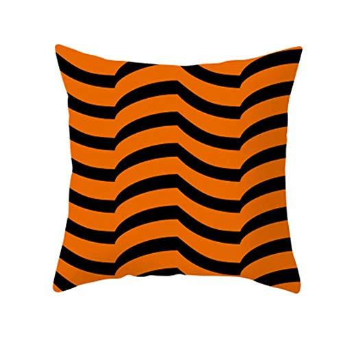 Lubier Paquete de 1 funda de almohada decorativa de calabaza de color naranja de Halloween, funda de almohada cuadrada sólida, suave poliéster para decoración de la cama del hogar