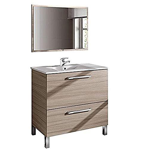 Mueble Baño Lavado Natural + Espejo + Lavabo con grifería incluida