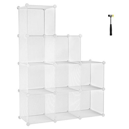 SONGMICS DIY Librería, con 9 Cubos de Rejilla metálica, Armario Modular de...