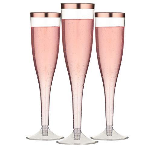 TOROTON 30 Flautas de Champán de Plástico, 162ml Reutilizables Transparente Copas de Champán, Vasos Alargadas Champagne para Fiestas Cumpleaños Boda - Oro Rosa Bordeado