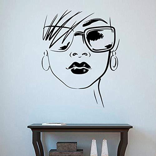 wZUN Moda Chica calcomanía de Pared Gafas Mujer Cara Vinilo Pegatina Chica Dormitorio salón de Belleza decoración 63X79 cm