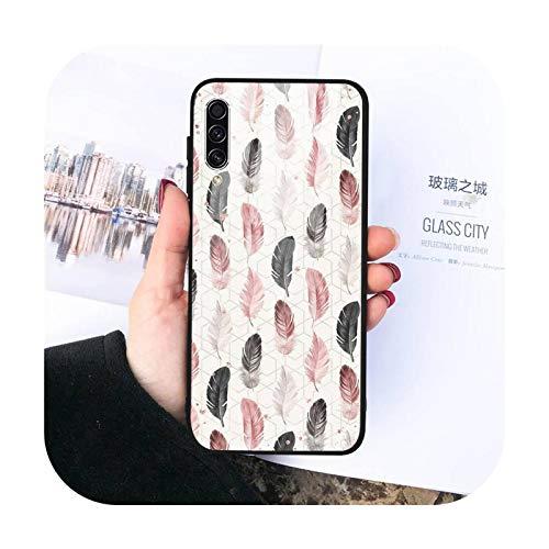La moda de la pluma del teléfono nuevo caso de vidrio templado para Samsung S20 Ultra S7 edge S8 S9 S10 e plus note8 9 10 pro-a7-Samsung S8 plus