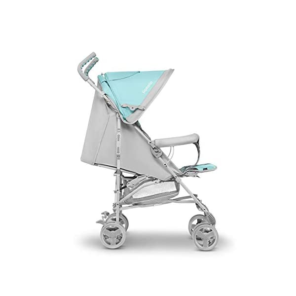 Lionelo Elia Buggy Small Folding Pushchair Buggy up to 15 kg Back and Footrest Adjustment Rear Wheel Brake Mosquito Net Leg Warmer Rain Cover Shopping Basket Lionelo Safe and handy. The Elia pushchair has a simple folding system. Does not need much space after folding. Folding the buggy takes only a few seconds, with a carry handle and the weight of only 7 kg, ideal for travel, on the train or in the car boot. Features: Complete set with mosquito net, leg warmer and rain cover, spacious storage basket, back and footrest adjustment, handle height at 105 cm. Swivel lock and rear brake. On the rear axle there is a comfortable and quick to use brake that is operated with one foot. The front wheel has a swivel lock that helpfully holds a steady course on uneven terrain. 7