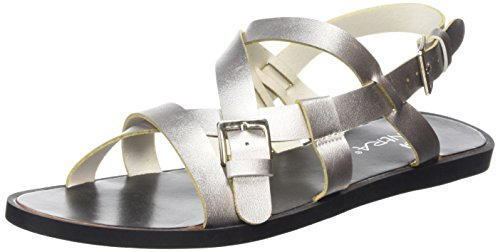 Tantra Striped Sandals - Sandalias para Mujer, Color Plateado, Talla 38