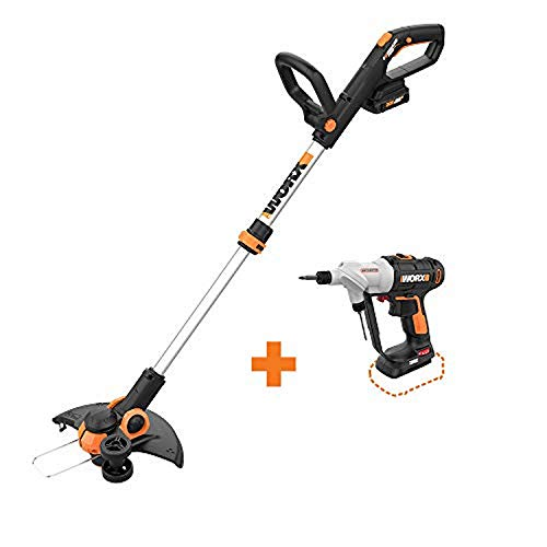 "WORX WG163 GT 3.0 20V PowerShare 12"" Cordless String Trimmer & Edger with Switchdriver 2-in-1 Cordless Drill and Driver Tool Only with Rotating Dual Chucks"