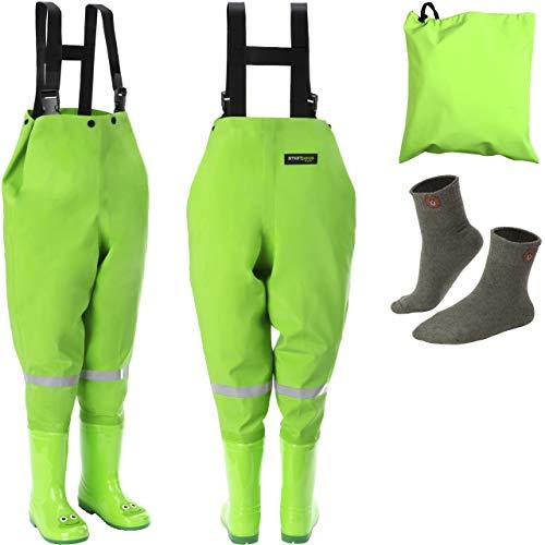 smartpeas wasserdichte Wathose für Kinder mit Gummi-Stiefel grün Größe 20/21 – ideale Anglerhose/Watthose für Kinder +Plus: 1x Socken