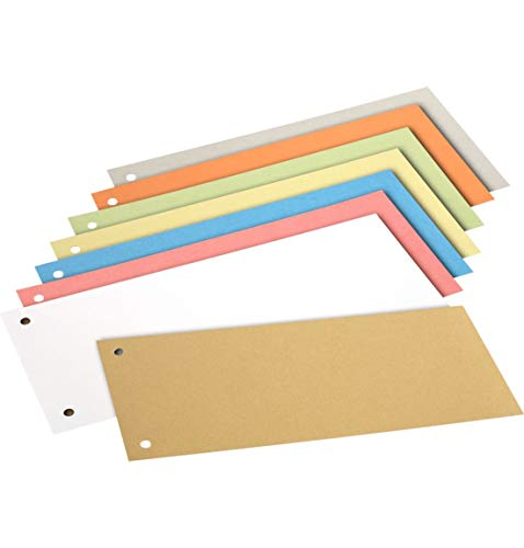 SCHÄFER SHOP Register Trennstreifen aus Recycling-Karton, gelocht, 180 g/qm, farbsortiert, 200 Stück