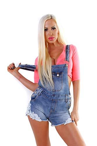 OSAB-Fashion 5383 Damen Latzjeans Latzshorts Hotpants Jeans Shorts Kurze Hose Spitze Fransen