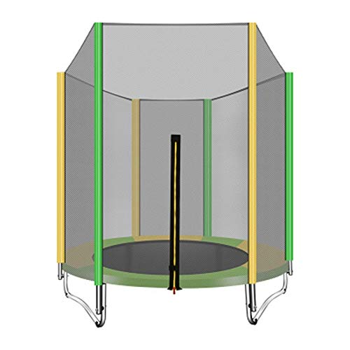 LICHUAN Trampolín con red de recinto, mini trampolín, ejercicio de rebote, combo de salto de baloncesto para niños interior/exterior, carga máxima de 350 libras (color: A)