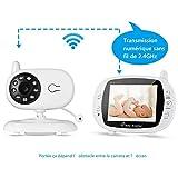 """LESHP Baby Monitor, Videocamera Bambini 3.5"""" LCD, Visione Notturna, Monitoraggio Temperatura, Audio Bidirezionale, Canzoni di Culla, Wireless con 2.4 GHz, per Bambini Videosorveglianza Sicurezza"""