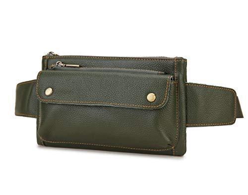 Loyofun bolsa unissex marrom couro legítimo bolsa de cintura mensageiro pochete bolsa para homens mulheres viagem esportes corrida caminhadas, Army Green