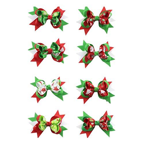 Lurrose 8 STKS Kerst Haar Boog voor Baby Xmas Boom Sneeuwpop Handschoenen Print Haar Clip Haarspeldjes Haaraccessoires voor Kids Meisjes Peuters