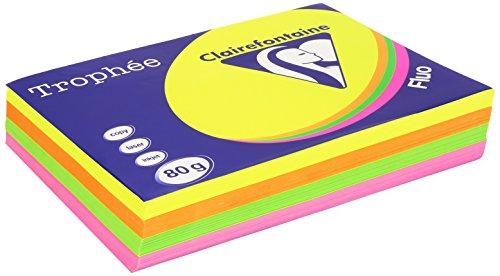 Clairefontaine 1705P Druckerpapier Trophée, für alle Laserdrucker, Kopierer und Tintenstrahldrucker, DIN A4 (21 x 29,7 cm), 80g, 1 Ries mit 500 Blatt, Neon Farben sortiert