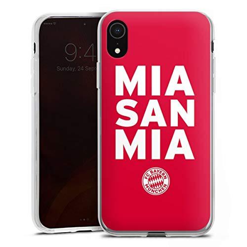 DeinDesign Silikon Hülle kompatibel mit Apple iPhone Xr Hülle transparent Handyhülle FC Bayern München mia san mia FCB