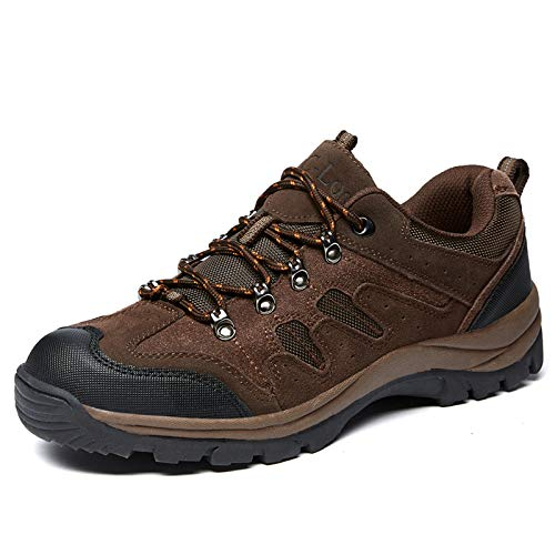 Men's Hiking Shoes Water Resistant Outdoor Breathable Non-Slip High-Traction Grip Lightweight Backpacking Climbing Trekking Trails Walking Shoe Vent Series Brown