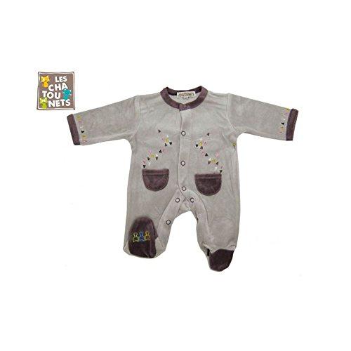 galatexe-Pijama bebé prematuro 00Meses gris-mauve talla-prematuro 45cm, color-gris