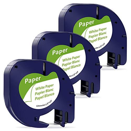 MarkField Kompatible Band als Ersatz für Dymo Letratag Papier Etikettenband Schwarz auf Weiß 12mm x 4m, für Dymo LT-100H LT-100T XR (Dymo Letratag Paper Tape Band Black on White 91200 91220 S0721510)