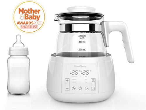 ÜneeQbaby Baby Formula Wasserkocher mit integriertem Thermostat, zur Flaschenfütterung | hält jede gewünschte Temperatur bis zu 24 Stunden lang | hohes Borosilikatglas | integriertes Kühlsystem