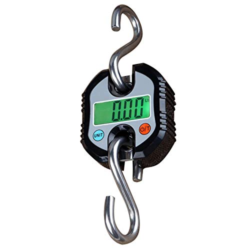 Rhorawill Crane Scale 150kg Double Accuracy Electronic Digital Hook Scale Mini LCD Loop Hanging Scale Luggage Fishing Scale Heavy Duty Weight Balance with Tare Function Black