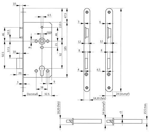 Gu bks Haustürschloss BKS 0024 | Anschlag: DIN rechts | Ausführung: Stulp käntig | Dornmaß (mm): 55 | Lochung: PZ | Stulpbreite (mm): 22