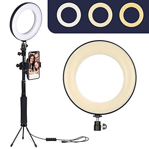 """ZOMEI 6"""" Anillo de luz LED con Soporte para trípode Selfie Stick y Soporte para teléfono Celular para transmisión en Vivo, Video de Youtube, Maquillaje, Vlog, fotografía Compatible con iPhone Android"""