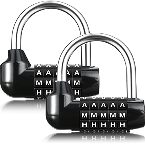 2 Pieces Combination Word Padlock 5-Dial Gym Locker Combo Lock Easy to Open Black Letter Password Padlock Gym Sturdy Security Padlock for School Sports Fence Toolbox Case