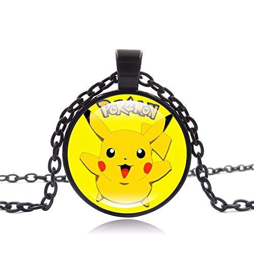 Anime joyas Pokemon Halskette Pikachu Kunst vidrio Cabochon seguidores viejo bronce declaración Halskette para mujeres regalo