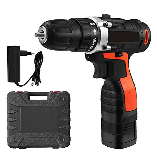 FFXENG 16.8V Professional Industrial Rechargeable Cordless Drill Driver with 1pcs Li-ion Battery, 1.5 Hr Fast Charger, 2 Speed Compact Electrical Drill Best Gift for DIY