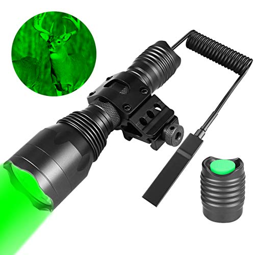 Fyland Tactical Flashlight 350 Yards LED Green Hunting Flashlight with Universal Picatinny Rail Mount, Remote Pressure Switch, Rechargeable Batteries and Charger for Long Distance Night Hunting