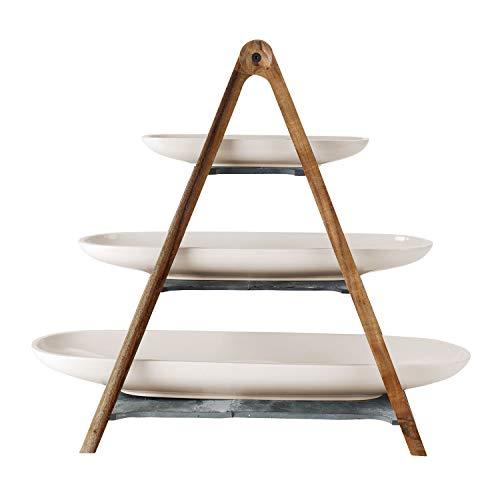 Villeroy & Boch - Artesano Original Etagere, 4tlg., 55 x 22,5 x 48,5 cm, 3-stöckige Etagere aus Naturmaterialien, Premium Porzellan/Naturschiefer/Holz