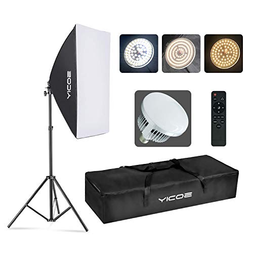 "YICOE Softbox Photography Lighting Kit Professional Photo Studio Equipment 20""X28"" Studio Photography Light with 5700K Energy Saving Light Bulb for Filming,YouTube Video,Model,Advertising Shooting"