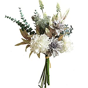 SJWA Artificial Flowers Grey Dahlia Hand Flowers with Eucalyptus Hand Grass for Home Wedding Decorations Artificial Flowers Wedding Bouquets (Color : Grey)