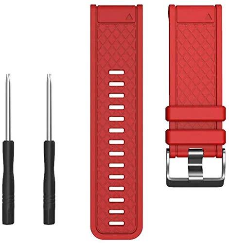 ieenay Correa de silicona para pulsera deportiva Garmin Fenix/Fenix 2, color rojo