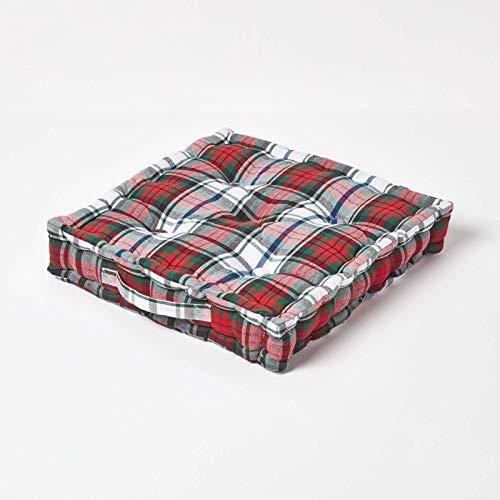 Homescapes Coussin de Chaise à Motif écossais Macduff et Couleurs Rouge Vert Blanc Fait en 100% Coton de 50x50 cm pour Chaise de Salon et Chaise de Jardin