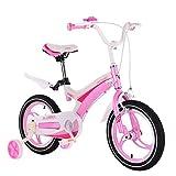 AI-QX 12-16 Pouces Vélo Enfant Étude d'apprentissage équitation Vélo Garçons Filles Vélo avec Stabilisateurs Vélo avec Bell pour Enfant de 2 à 11 Ans,Pink,14'