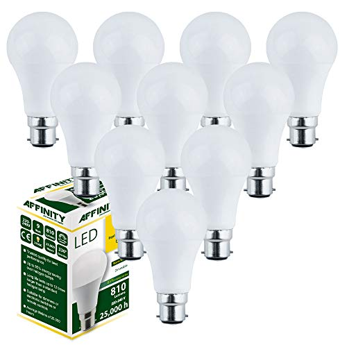 AFFINITY Lot de 10 ampoules B22 LED à intensité variable Blanc chaud 9 W 810 lm Opale 2700 K