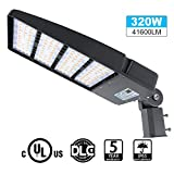 LED Parking Lot Lights 320W 41600LM LED Shoebox Pole Mount Lights Fixture 1000W HID/HPS Replacement 5700K IP65 AC 100-277V UL Listed Outdoor Area Street Security Lighting for Stadium Roadways