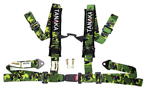 Tanaka Phantom Series Buckle 4 Point Safety Harness Set with Ultra Comfort Heavy Duty Shoulder Pads for Off Road Truck Jeep, UTV, Sand Sport Vehicles Camo (for One Seat)