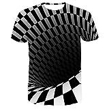 RuaRua Mujer De Camiseta Casual,Creativo 3D Impreso En Blanco Y Negro, Camisetas De Manga Corta con Cuello Redondo, Camisetas Casuales Novedosas, Diseños Geniales, Agujero Negro, XXL