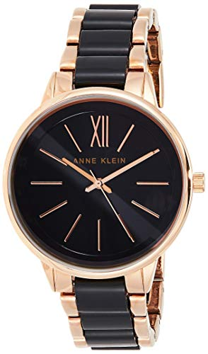 Anne Klein Women's Rose Gold-Tone and Black Bracelet Watch