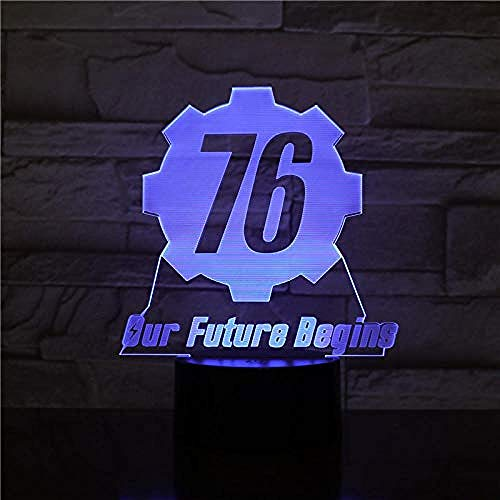Fallout 76 our future starts usb 3d led luz de noche niño niño niños bebé regalos luces decorativas jugar lámpara de mesa noche 2414usb recargable niños niñas presente decoración para bar