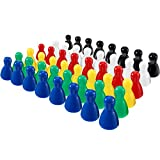 48 Piece Multicolor Plastic Pawns Pieces Game for Board Games, Tabletop Markers Component