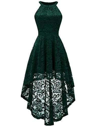 BeryLove Damen Vokuhila Cocktail Kleid Elegant Halter Spitzenkleid Brautjungfern Blumenmuster BLP7028DarkGreenS