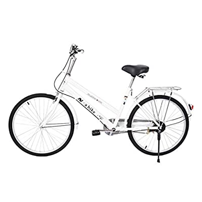 HUZONG 24 Inch Women's Bike, Classic Cruiser Comfort Cushion Seat Bicycle, Adult Teens Hybrids Cycle, Mountain Bike, Retro Bicycle, Anti-Skid Wear-Resistant Tires for Men/Women Outdoor Ready to Ride