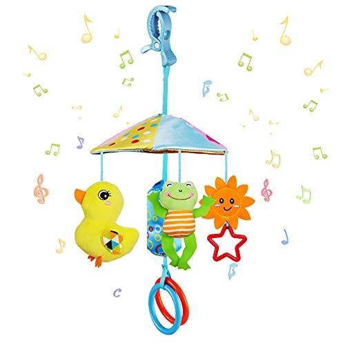 WolinTek Baby Kinderwagen Spielzeug Plüschtier mit Glöckchen,Kleinkindspielzeug,Baby Spielzeug für Bettchen, Wiege oder Autositz,Greifen und Knistern- Papier, Spiegel für Babys Kleinkinder (B)