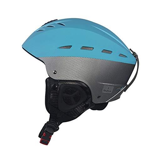 SSYWX Casque De Ski Professionnel ABS + EPS Matériel Unisexe Chaud Coupe-Vent Anti-Drop Anti-Collision Shocking Équitation Casque De Ski Accessoires (Blue,L(59-61cm))